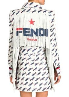 Fendi Fringed Mania Fila Logo Leather Jacket