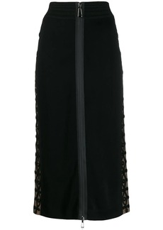 Fendi front zipper fitted skirt