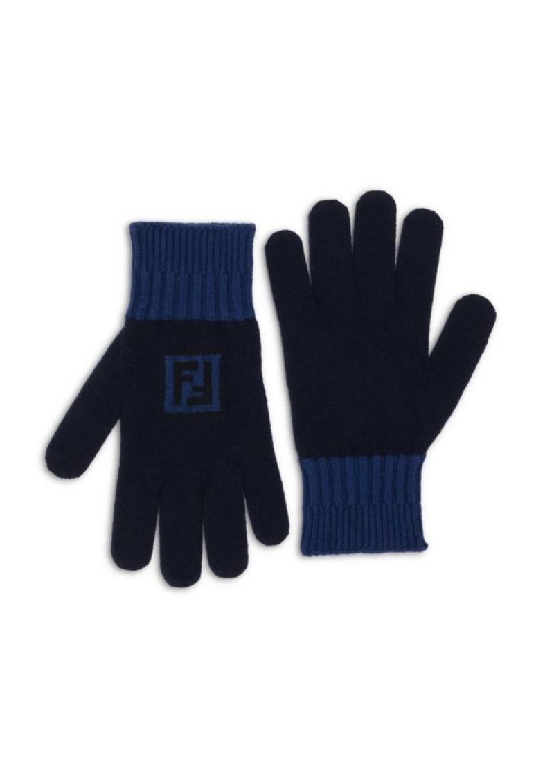 Fendi Fun Logo Wool & Cashmere Gloves