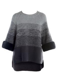 Fendi Fur Cuff Wool & Cashmere Ombré Crewneck Sweater