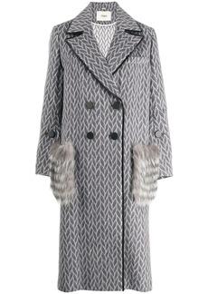 Fendi fur pockets double breasted coat