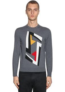Fendi Futuristic Logo Wool Jacquard Sweater