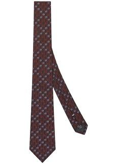 Fendi geometric FF motif silk tie