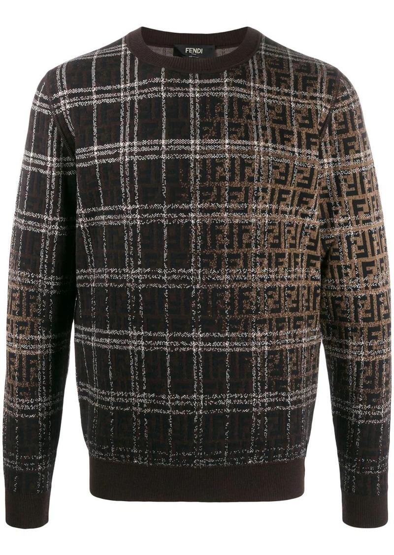 Fendi check and logo print jumper