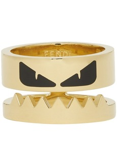 Fendi Gold & Black 'Bag Bugs' Eyes Ring