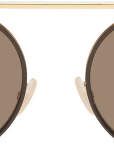 Fendi Gold & Brown Circle Sunglasses