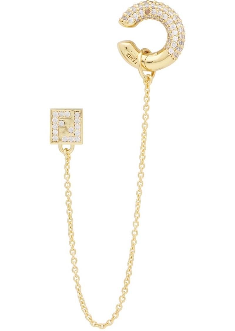 Gold 'FendiOops' Earring