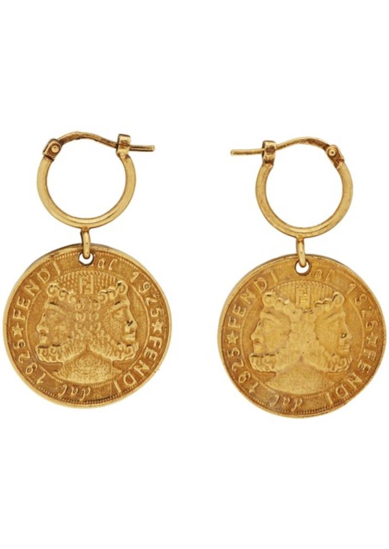 Fendi Gold Karligraphy Earrings