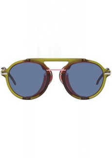 Fendi Green & Red Wrap Sunglasses