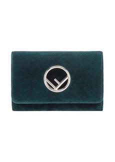 Fendi green Wallet on chain mini velvet bag