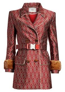 Fendi Grille Royale Jacquard Mink Fur-Cuff Belted Coat