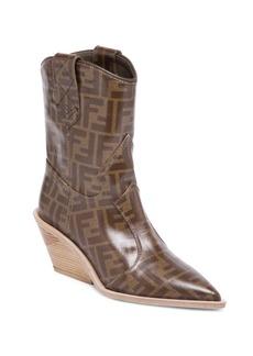 Fendi Heeled Logo Leather Cowboy Boots