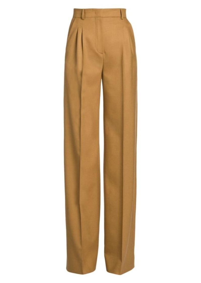 Fendi High-Rise Birdseye Wool Wide-Leg Trousers