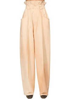 Fendi High Waist Cotton Gabardine Cargo Pants