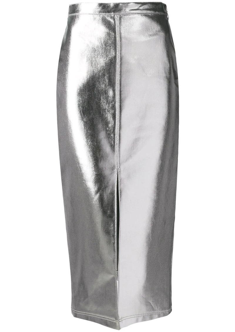 Fendi high-waist metallic skirt