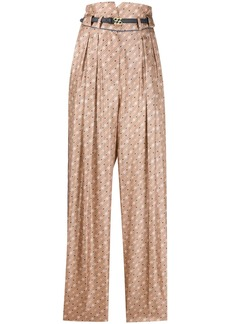 Fendi high-waisted Karligraphy motif printed trousers