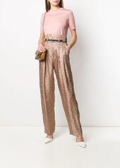 Fendi high-waisted straight printed trousers