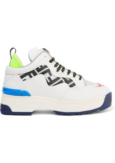 Fendi Holographic Logo-detailed Rubber-trimmed Leather And Mesh Sneakers