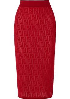 Fendi Intarsia-knit Cotton-blend Midi Skirt