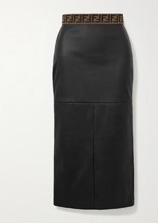 Fendi Jacquard-trimmed Leather Midi Skirt