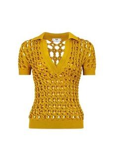 Fendi Yellow knit polo shirt