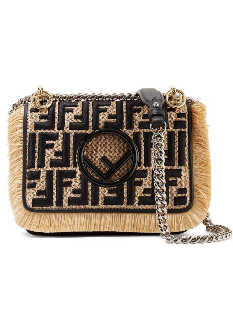 1ba5568a2756 Fendi Kan I leather-trimmed embroidered raffia shoulder bag