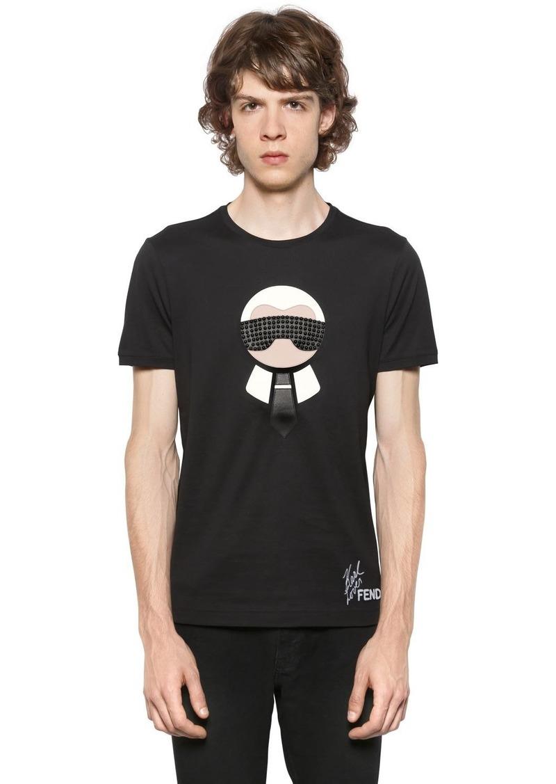 08d11de9 Karl Studded & Patches Jersey T-shirt
