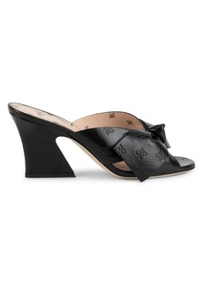 Fendi Karligraphy Bow Embossed-Leather Mules