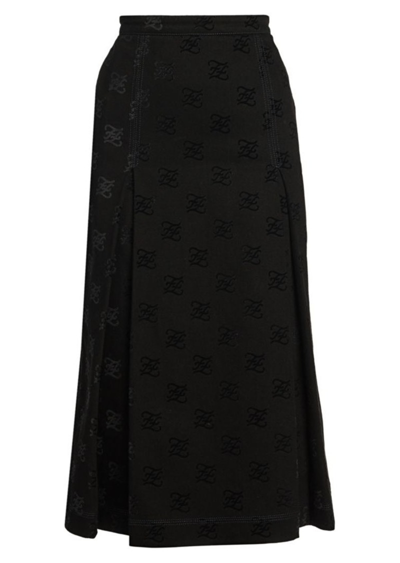 Fendi Karligraphy Flocked Midi Skirt