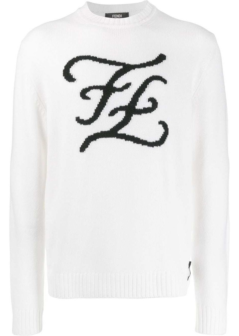 Fendi Karligraphy knitted crew neck sweater