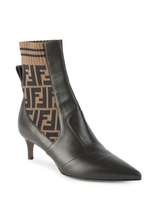 Fendi Kitten Heel Leather and Knit Booties