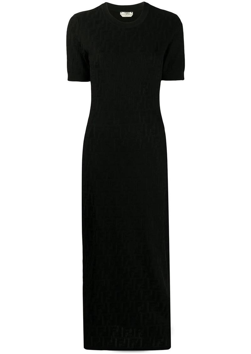 Fendi Kleid mit Logos kurzarm