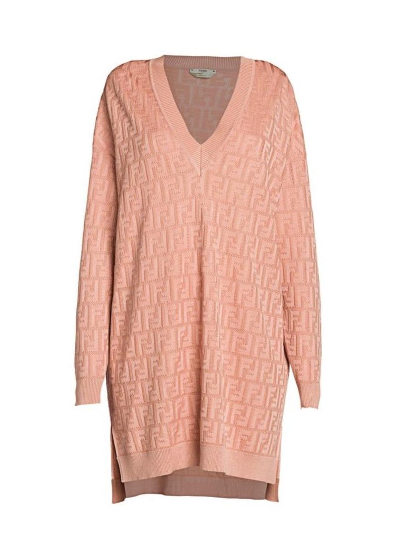 Fendi Knit FF Oversized V-Neck Sweaterdress