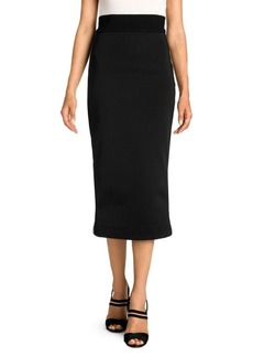 Fendi Knit Logo Stripe Pique Jersey Pencil Skirt