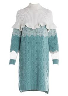 Fendi Lace & Ruffle Detail Cable Knit Sweater Dress