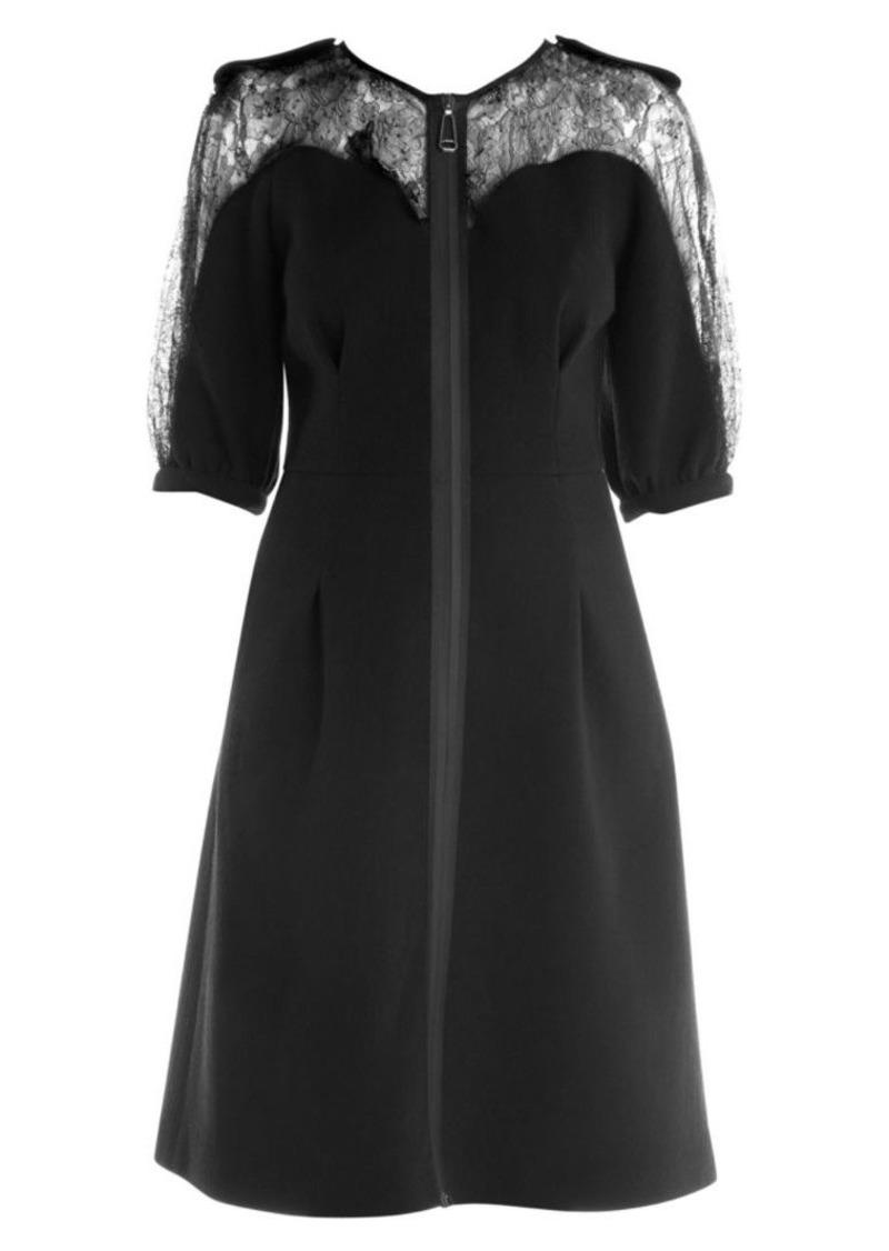 Fendi Lace Detail Zip-Up Crepe Dress