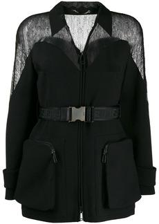 Fendi lace-insert bomber jacket