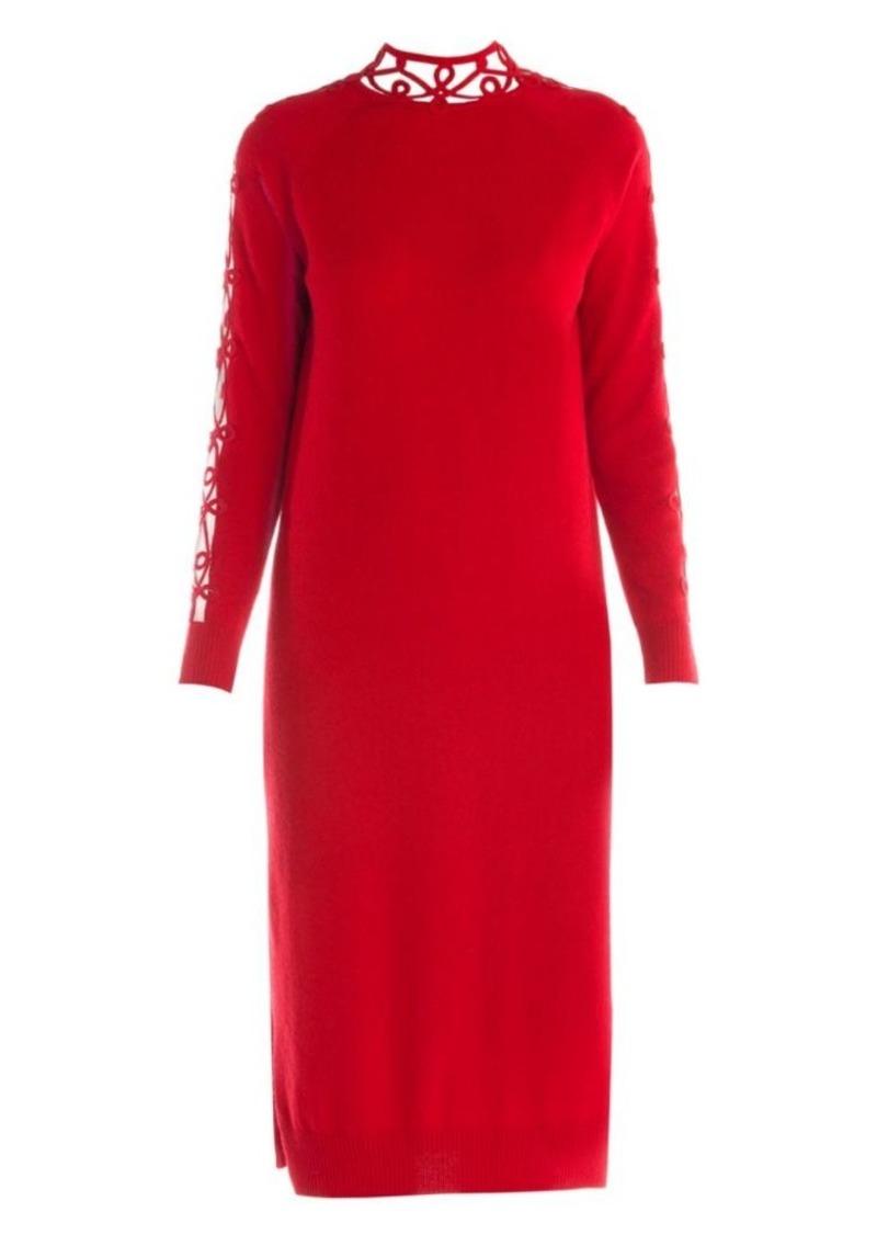 Fendi Lace Insert Cashmere-Blend Sweater Dress