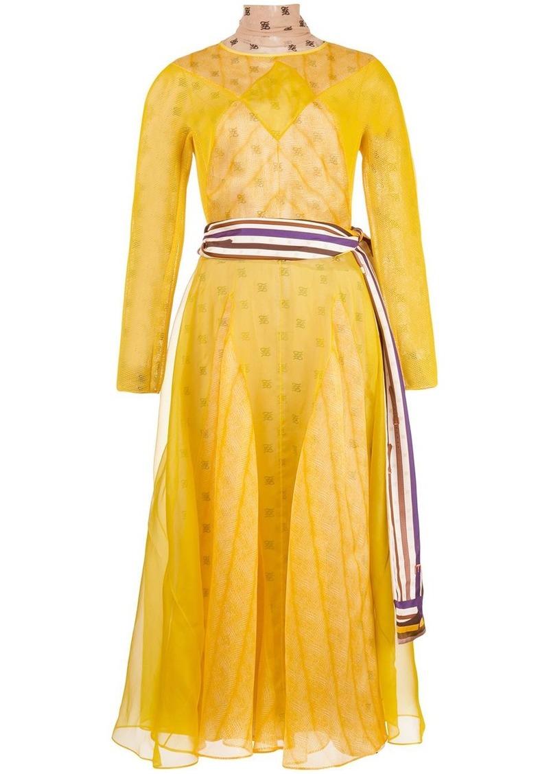 Fendi layered mongram print dress