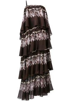 Fendi layered printed maxi dress