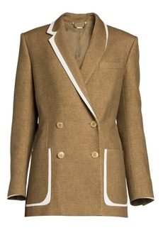 Fendi Leather-Trim Flannel Tweed Double-Breasted Blazer