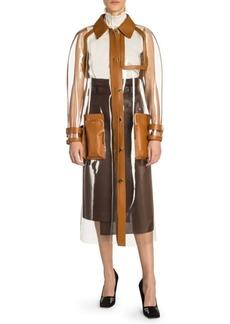 Fendi Leather Trim Plastic Trench Coat