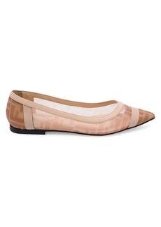 Fendi Leather-Trimmed Mesh Flats