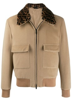 Fendi logo collar bomber jacket