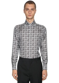 Fendi Logo Cotton Blend Poplin Shirt