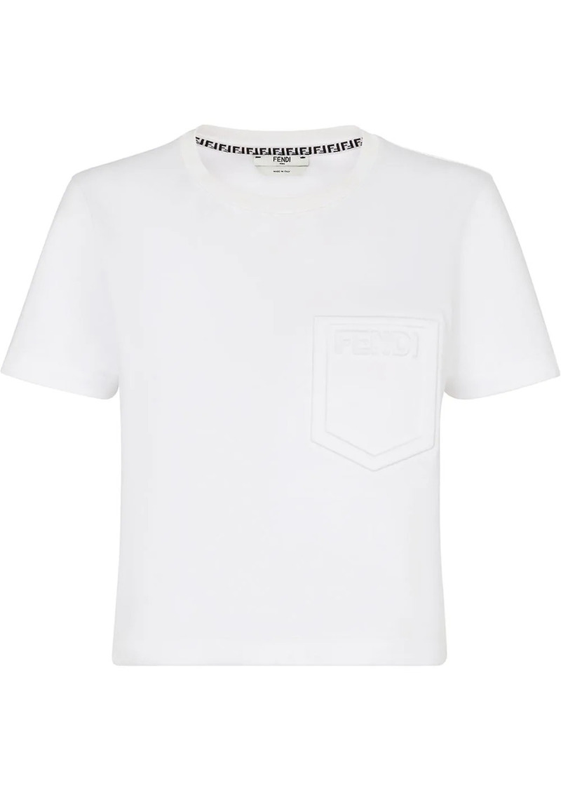 Fendi logo-embossed crew-neck cropped T-shirt