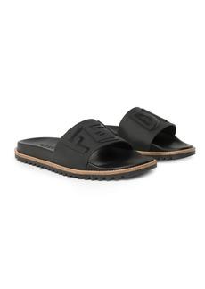 Fendi Logo Embossed Slide Sandals