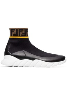 Fendi Logo hi-top stretch sock sneakers