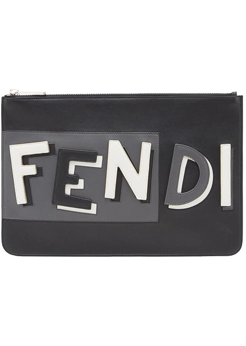 Fendi logo inlay zip pouch