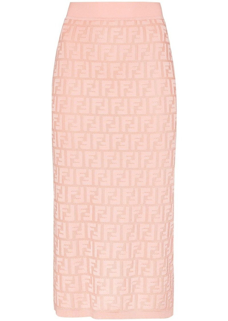 Fendi logo jacquard pencil skirt